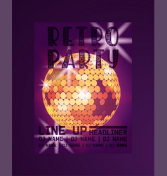 retro party poster line up vector image