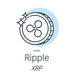 ripple cryptocurrency coin line icon of virtual vector image