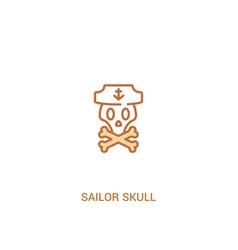 Sailor skull concept 2 colored icon simple line vector
