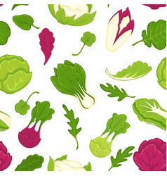 salad lettuces and cabbage vegetables seamless vector image