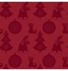 Seamless pattern with Christmas tree bell vector image
