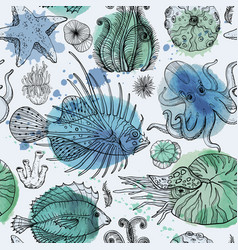 Seamless pattern with watercolor deepwater vector