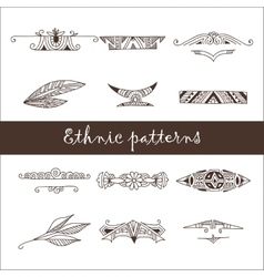 set different ethnic doodle patterns vector image
