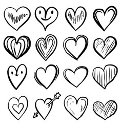 set hand drawn hearts design element vector image