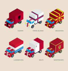 Set of isometric 3d cargo trucks with flags vector