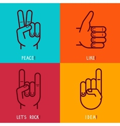 set of outline icons - gestures and signs vector image