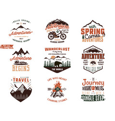 Set of vintage adventure tee shirts designs hand vector