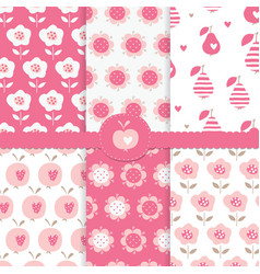 set seamless patterns with abstract floral vector image
