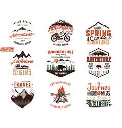 Set vintage adventure tee shirts designs hand vector