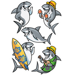 Shark cartoon character set vector