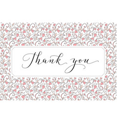 Thank you card with hand written custom vector