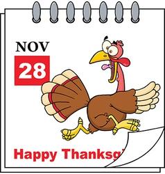 Thanksgiving cartoon calendar vector