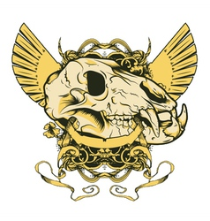 Vintage emblem with animal skull vector