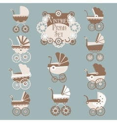 Vintage Prams-Baby carriage set vector