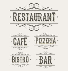 vintage restaurant and pizzeria banners vector image
