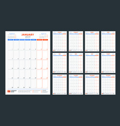 wall calendar planner template for 2019 year week vector image