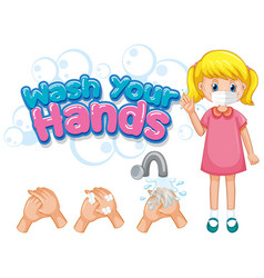 Wash your hands poster design with girl wearing vector