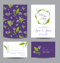 wedding cards set with blossom lily flowers vector image