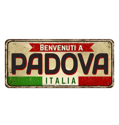 welcome to padova in italian languagevintage vector image