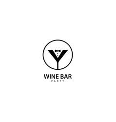 Wine bar party logo design vector
