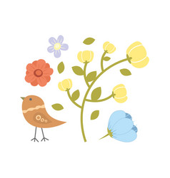 with flowers collection and bird vector image