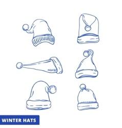 Xmas hat sketch set line art vector image