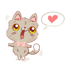 cat in kawaii style vector image vector image