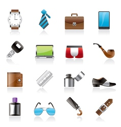 Male accessories and clothes icons vector image vector image