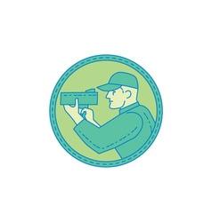 Policeman Speed Radar Gun Circle Mono Line vector image