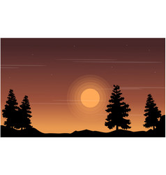 Silhouette of tree on the hill landscape vector