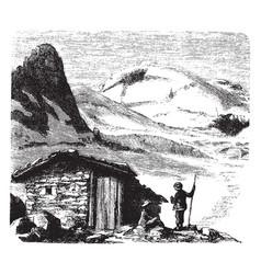 Cabin on mountain vintage vector