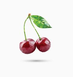 cherries in polygonal style vector image