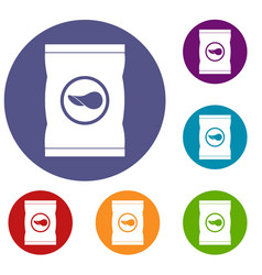 Chips plastic bag icons set vector