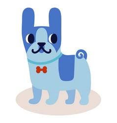 cute cartoon blue bulldog with a bow isolated on vector image vector image