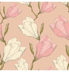 Pink vintage magnolia flowers fabric retro vector