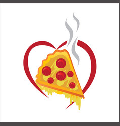 pizza piece with heart vector image vector image