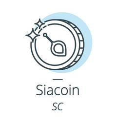 siacoin cryptocurrency coin line icon of virtual vector image vector image