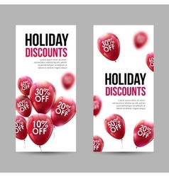 Trendy Holiday Sale Discount Banners set with Red vector image
