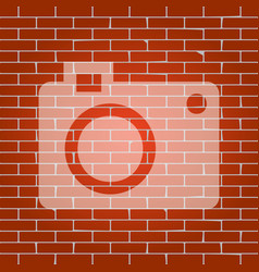 digital camera sign whitish icon on brick vector image vector image