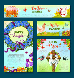 easter holiday cartoon banner poster template set vector image vector image