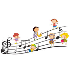 people playing musical instruments with music vector image vector image