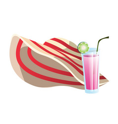 straw hat and cocktail drink summer objects vector image
