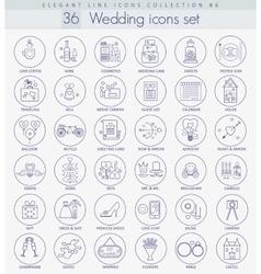 Wedding Outline icon set Elegant thin line vector image vector image