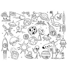 cartoon set of alien space elements vector image