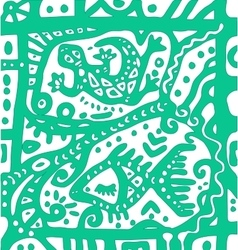 Decorative lizard and abstract sea ornament vector image vector image