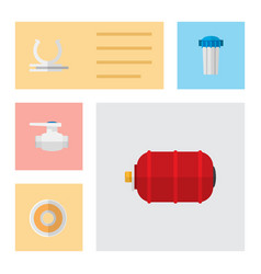 icon flat industry set of pump valve water tank vector image vector image