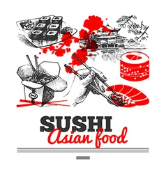 Japanese sushi menu background vector image vector image