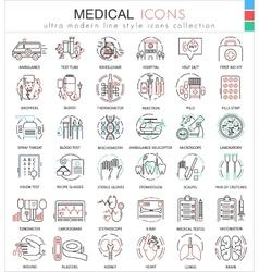 Medical medicine color flat line outline vector image
