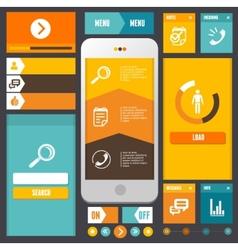 Modern UI flat design kit Web elements vector image