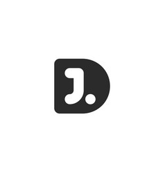 monogram logo made from black letters d and j vector image vector image